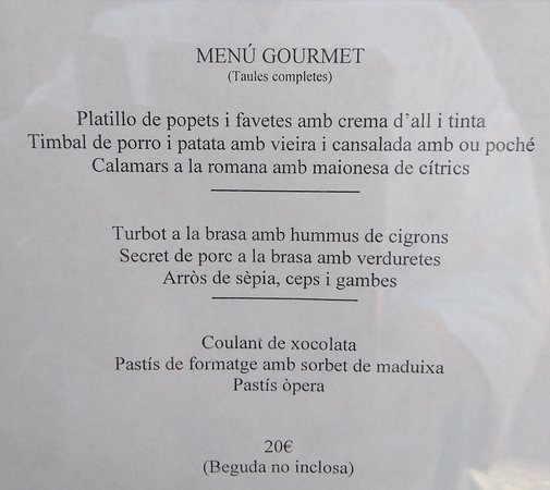Amer, Spanyol: Menú de hoy