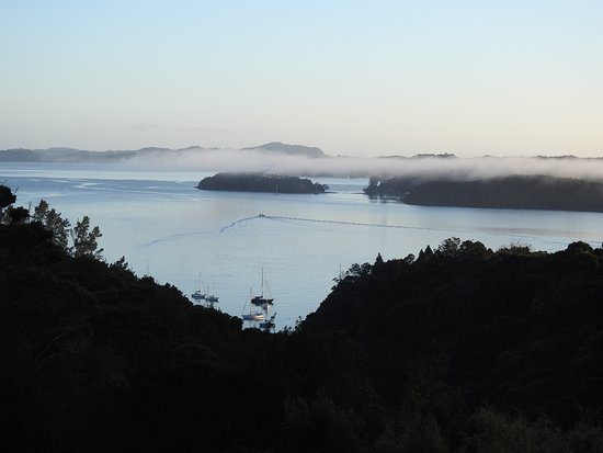 Opua, New Zealand: great views from the deck. this one from the morning with the fog