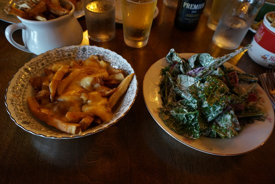 Scoff Restaurant: Charred Kale and Beets, with a side of Poutine: DELICIOUS