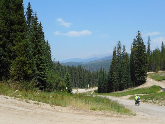Winter Park Resort: View of the service road and valley from the Eskimo Express lift.