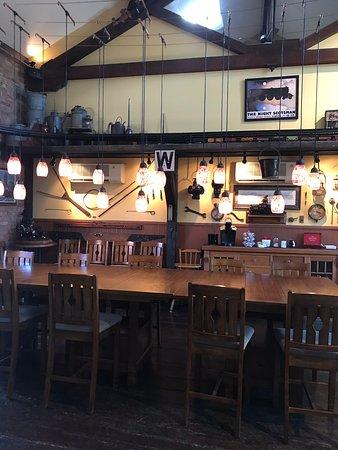 Riley's Railhouse: Breakfast table in the Railhouse