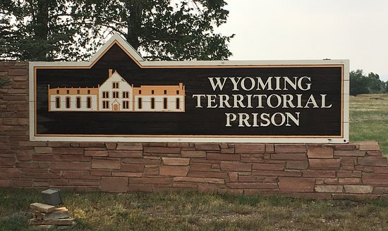 Wyoming Territorial Prison State Historic Site: Welcome sign along the highway, just off the interstate