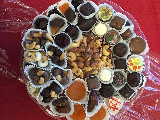 Sharon, MA: Dessert tray with assorted chocolates, nuts and glazed fruits