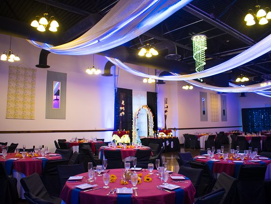 Colonie, NY: Wedding Ceremony set up. The theme was navy blue, maroon and sunflowers!