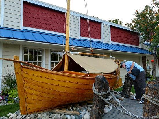 Darrow's Family Restaurant: Historic Mackinaw Boat outside the restaurant