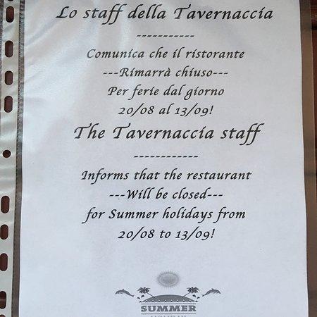 La Tavernaccia: chiusura estiva 2018