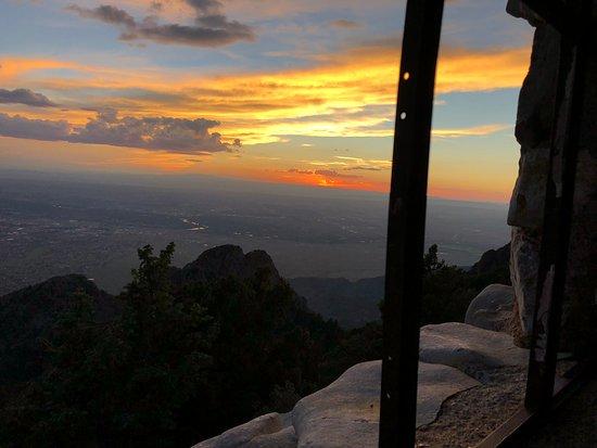 Sandia Peak Tramway: Albuquerque sunset from the Stone Cabin atop Sandia Skyway