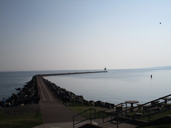 Two Harbors, MN: Jetty at the beach and small light station at the end.