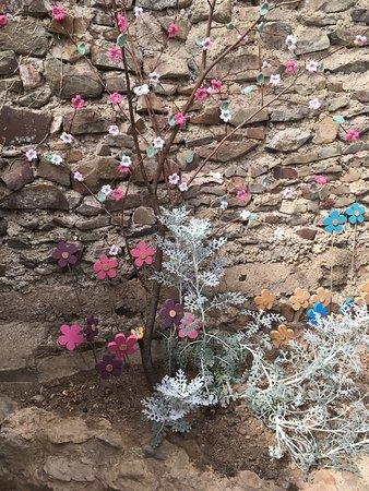 High Bickington, UK: Crocheted plants.