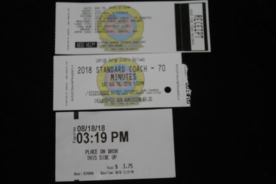 Lehigh Gorge Scenic Railway: 70 min train ride - Kiosk ticket showing we paid for 3 hrs.