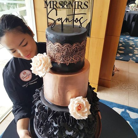 Gorgeous Black And Rose Gold 3 Tier Wedding Cake Congratulations