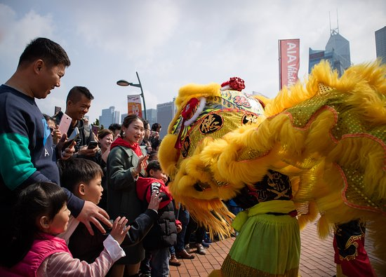 Hong Kong Observation Wheel: lion dance performance at the park