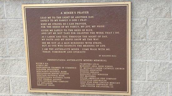 Pennsylvania Anthracite Miner's Memorial: A Miner's Prayer
