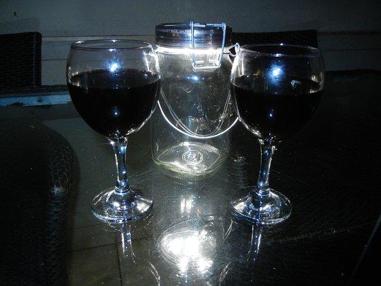 Biyamiti Bushveld Camp: wine on the porch