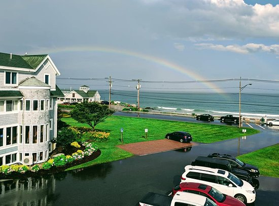 Anchorage Inn: We got to see a rainbow on the beach after a storm.
