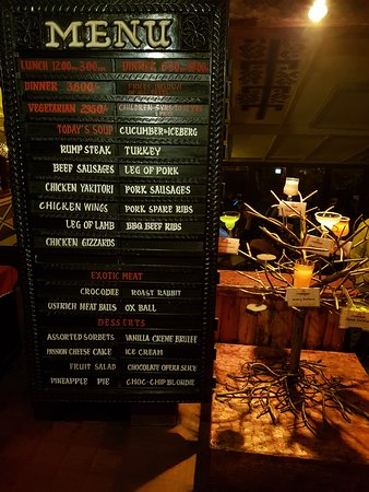 the carnivore restaurant menu including the exotic meats