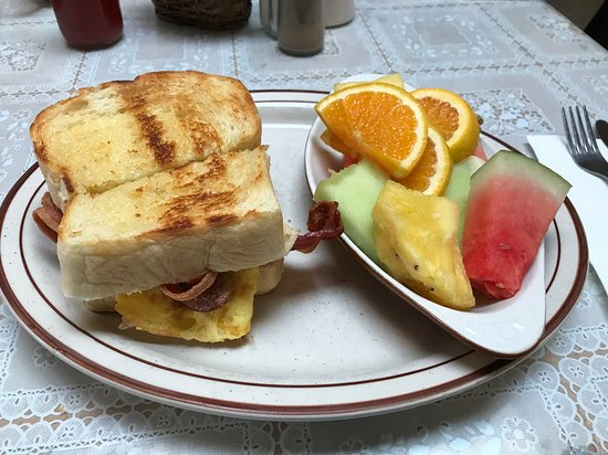 Sedro Woolley, WA: Breakfast Sandwich with half a plate of delicious fruit as a side (instead of hashbrowns).