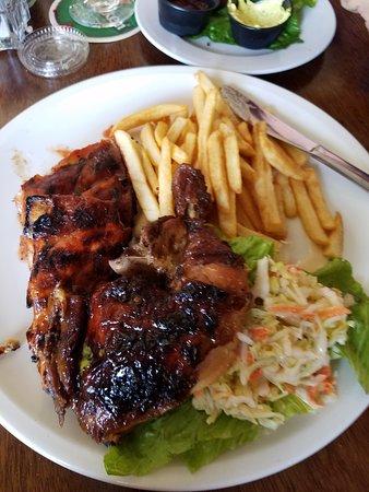 Blue Bittch Bar: Half rack of ribs & half jerk chicken