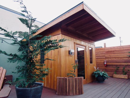 10-person cedar sauna with cold showers outside on the deck