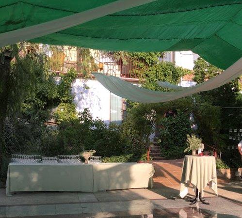 Torres, Испания: La escalerita que aparece entre la vegetación era la entrada de nuestra habitación.