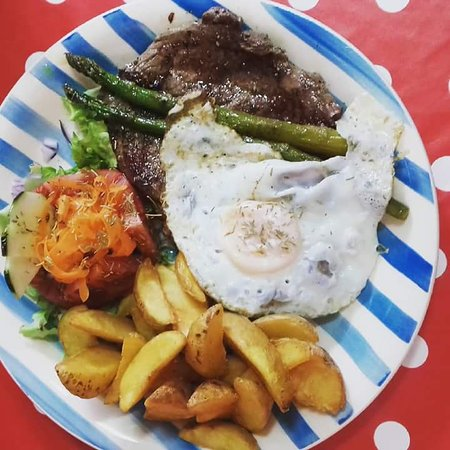 Barao de Sao Joao, Portugal: Bife a cavalo. Steak with egg.