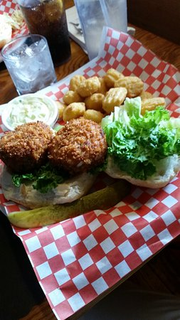Averill Park, NY: Crab cake sandwich & side of corn fritters