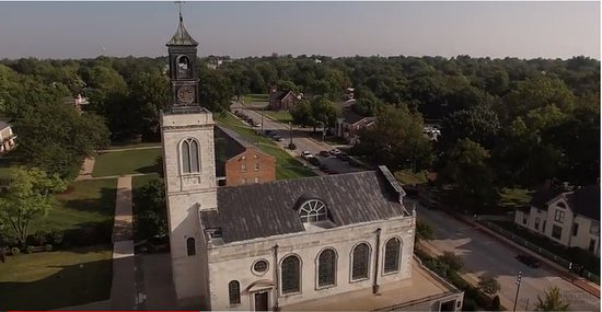 The National Churchill Museum: Aerial view of church and museum