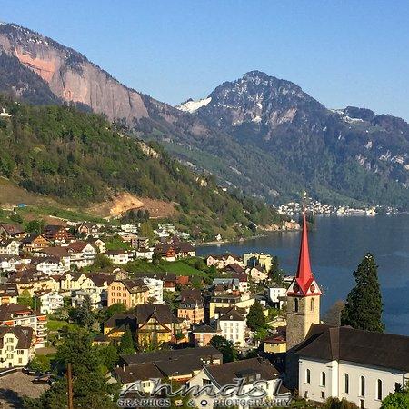 Lucerne Lake Top View Around Weggis By AhmdSL 02