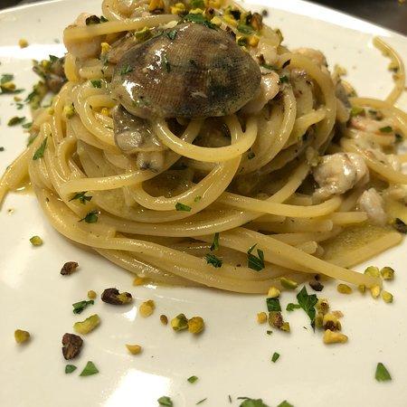 Spaghetti vongole pistacchio e gamberetti!
