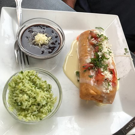 Crispy burrito with black beans and green rice