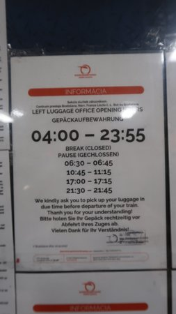 Opening hours of left luggage at Bratislava Railway Station