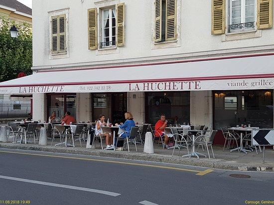 La Huchette : Terrasse dining - on the street, but not noisy