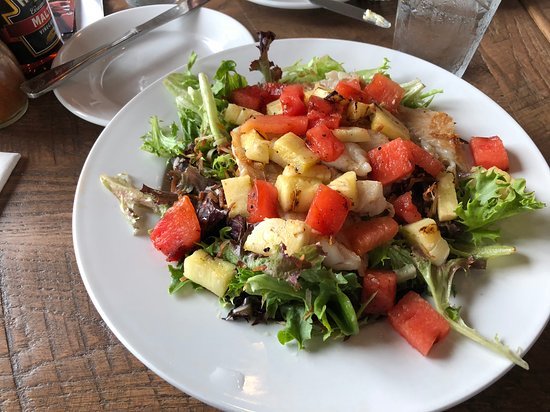 Fulton, MD: Summer salad with grouper, grilled watermelon and pineapple.