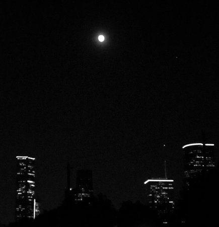 View from restaurant - an almost full moon over downtown