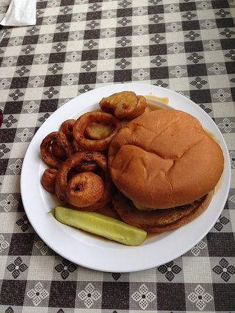 Oneonta, AL: Swiss Burger with hand cut onion rings