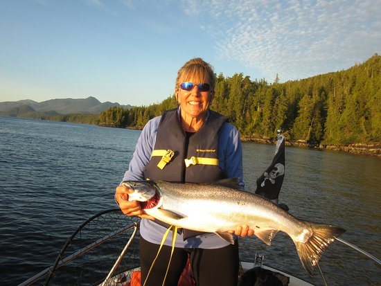 A typical salmon caught from the bays near Sportsman Club Rivers Inlet