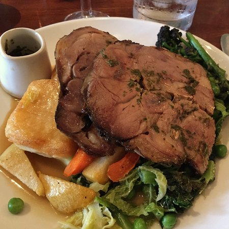 Newton-in-Bowland, UK: Bowland Lamb with spring cabbage, carrots, roasties, mash, and mint gravy
