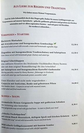 Auszug aus der Speisekarte des Restaurants