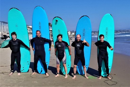 Adventures In Malibu: Us with our boards, chosen based on experience level and body size.