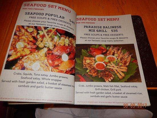Menu Mixed Grill - Picture of El Comedor Restaurant, Sanur ...