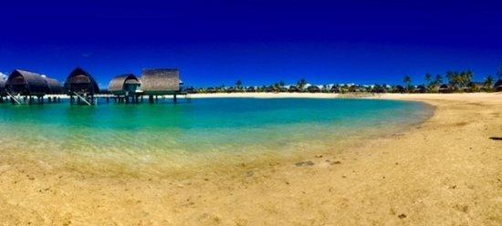 Fiji Marriott Resort Momi Bay Overwater Bungalows From Lagoon Beach