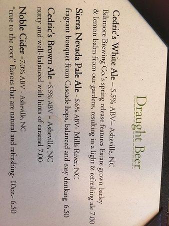 Partial beer menu - Picture of Cedric's Tavern - Biltmore