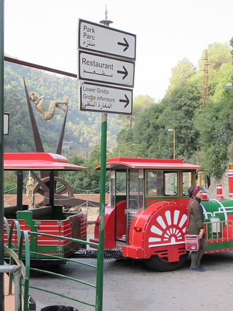 Jitta, Lebanon: The train that takes you from the upper cave to the lower cave.