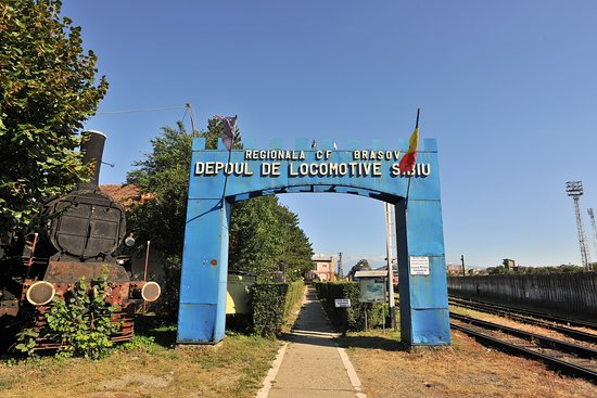 The entrance, with the Blue colour gate and the Romania flag.