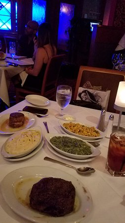 Ruth's Chris Steak House: Petite Filet, Petite Ribeye, corn, mashed potatoes and creamed spinach