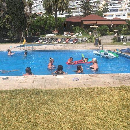 Family pool side visit