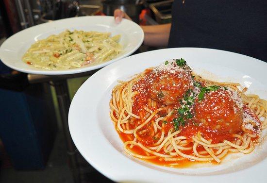 Normandy Beach, NJ: classic spaghetti and meatballs & penne with pesto cream