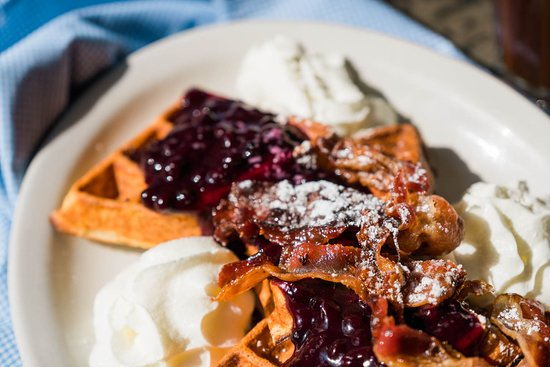 Faberge: For the sweet tooth, a blueberry compote waffle with caramelized bacon!