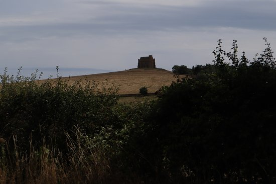 St Catherine's Chapel: The chapel stands out in the llandscape.