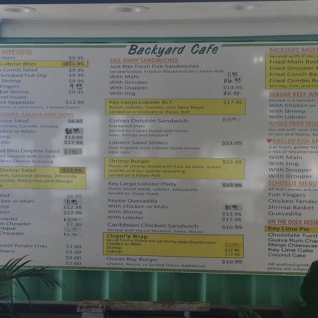 Key Largo Fisheries Cafe Menu